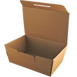 "CAJA DE PAPEL ""TO GO"" BIO KRAFT TRICAPA CON TAPA TROQUELADA AUTOMONTABLE 230X130X70mm"