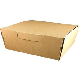 "CAJA DE PAPEL ""TO GO"" BIO KRAFT TRICAPA CON TAPA TROQUELADA AUTOMONTABLE 203x203x75mm"