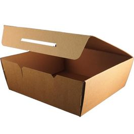 "CAJA DE PAPEL ""TO GO"" BIO KRAFT TRICAPA CON TAPA TROQUELADA AUTOMONTABLE 270x192x75mm"