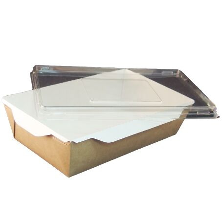 BANDEJAS RECTANGULARES CARTON **ECO** + TAPA PET 800ml 207x127x55mm PARA ENSALADAS