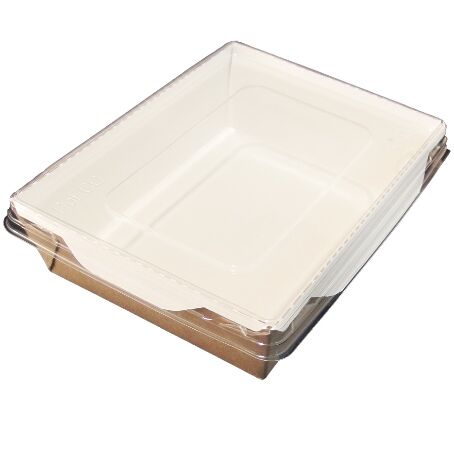 BANDEJAS RECTANGULARES CARTON **ECO** + TAPA PET 500ml 165x120x45mm PARA ENSALADAS