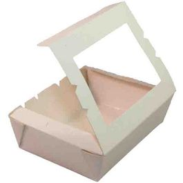 CAJAS MENU LUNCH PAPEL BLANCAS MINIS CON VENTANA 445ML 120X88X37MM