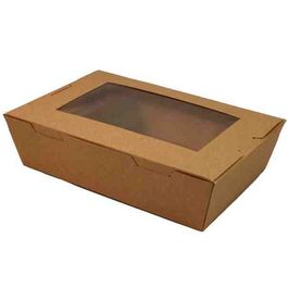 CAJAS MENU LUNCH PAPEL KRAFT/MARRONES GRANDES CON VENTANA 1900ML 195X140X65MM